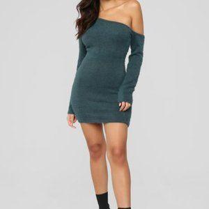 Fuzzy Feels One Shoulder Sweater Mini Dress
